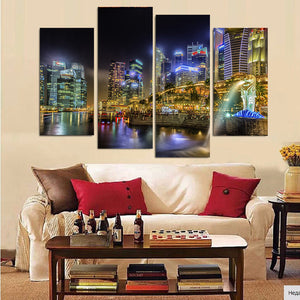 Canvas Painting 4 Piece Canvas Art Singapore City Night HD Printed Home Decor Wall Art Poster Picture
