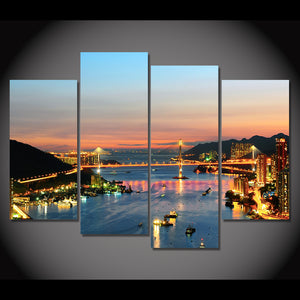 Canvas Painting 4 Piece Art Brightly City Night Sea HD Printed Home Decor Wall Art Poster Picture Living Room