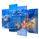 Modern 4 Pieces Canvas Art Europe City Winter Evening Wall Painting Home Decor Wall Pictures Living Room