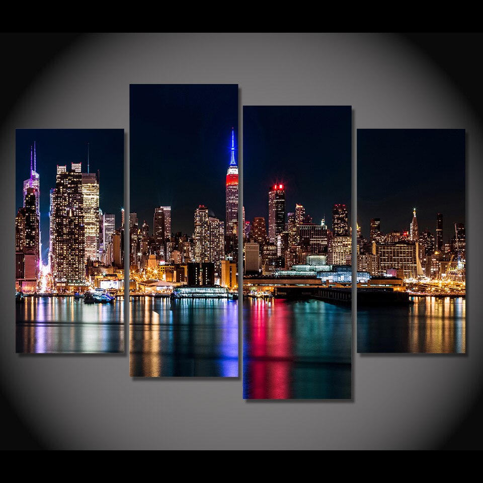 Canvas Painting 4 Piece Canvas Art Brooklyn Manhattan City HD Printed Home Decor Wall Art Poster Picture