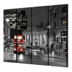 4 Piece Large Canvas Painting London Red Bus City View Wall Pictures Living Room Posters Prints