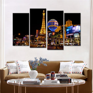 4 Pieces Canvas Wall Art Painting Prints Paris City Eiffel Pictures for Home Room Decoration