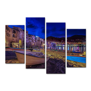 Modern 4 Pieces Canvas Art Wall Landscape Painting Night City On Seashore Home Decor Wall Pictures