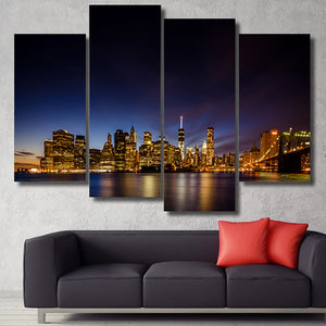Decor Living Room Modular Pictures 4 Piece Night Scenery Of The City Frame Wall Art Painting HD Printed Canvas