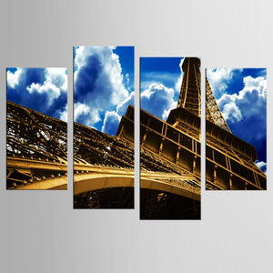4 Pieces Paintings On The Wall Art Canvas Painting Wall Pictures Paris City Eiffel Tower