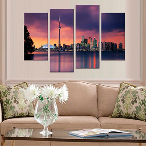 Wall Art Painting Modular Pictures 4 Piece City Night Landscape Home Decor HD Printed Modern Canvas
