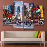 Living Room Wall Art Pictures HD Printed 4 Piece City Night Landscape Modern Painting Canvas Home Decor