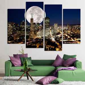 Modular Painting HD Printed Wall Art 4 Pieces City Moonlit Night Landscape Pictures Living Room Home Canvas