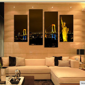 Paintings Wall Art 4 Piece Modern City Home Wall Decor Canvas Picture Art Hd Print Painting