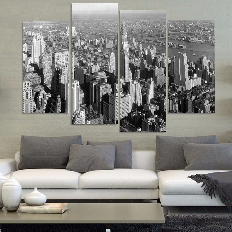 4 Pieces Black And White New York City Modern Home Wall Decor Canvas Picture Art HD Print Painting Art