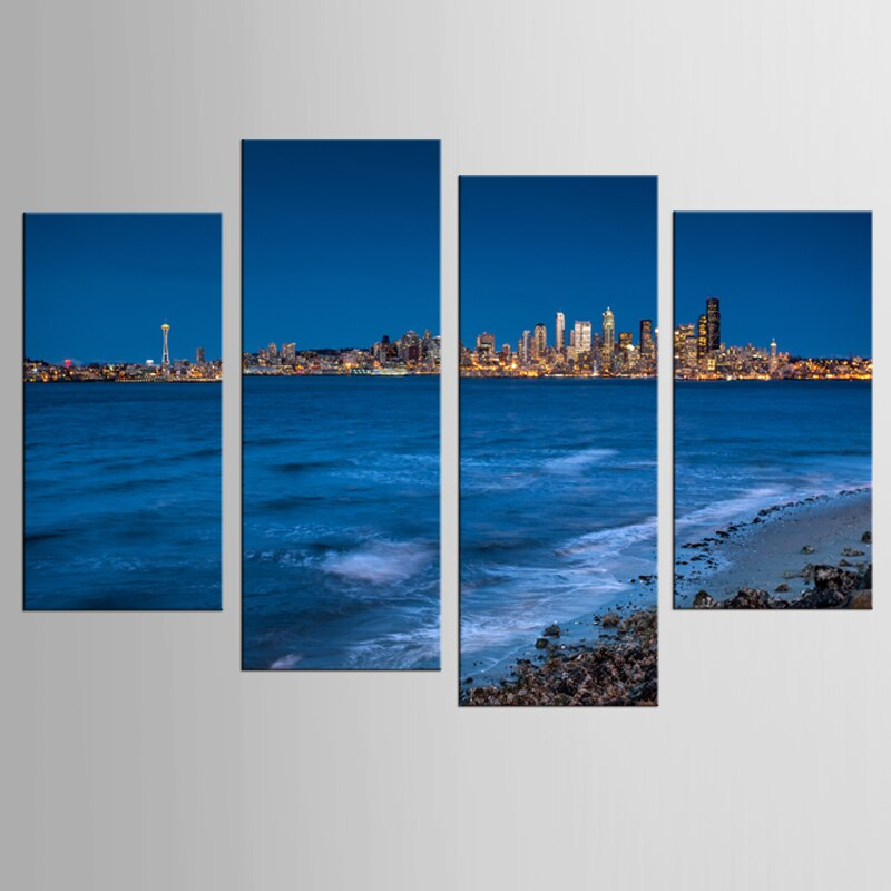4 Pieces Sets Modern Seaside City Pictures Canvas Printing Home Decoration Living Room