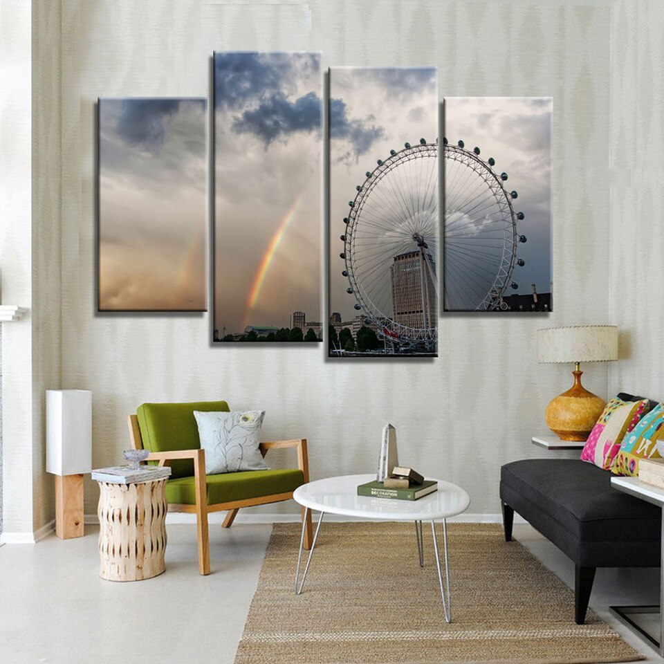 Canvas Printed Poster Home Decoration 4 Pieces Rainbow City Building Landscape Painting Wall Art Pictures