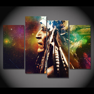 Canvas Painting 4 Pieces Art Indian Paintings Headdress Feathers Home Decor Wall Pictures