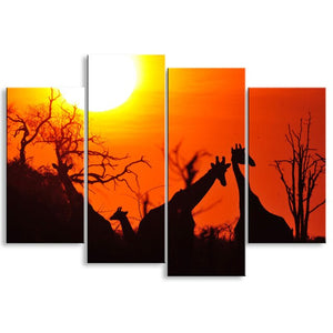 4 Pieces High-Definition print African Landscape Canvas Oil Painting Poster Wall Art Living Room