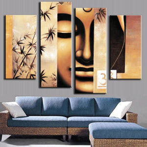 4 Pieces Oil Painting On Canvas Printed Buddha Wall Art Picture Living Room Home Decoration