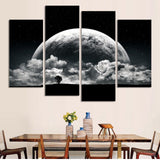 Black And white Moon Printed Painting Space View 4 Piece Canvas HD Picture Art Poster Room Decor