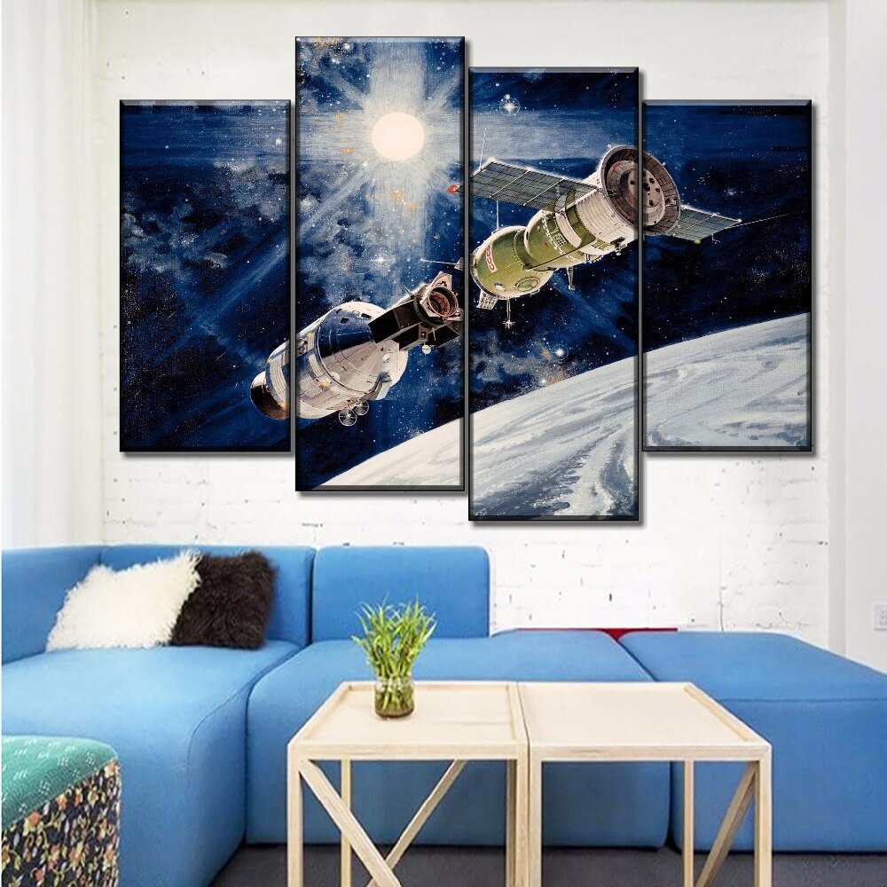 Modern Wall 4 Pieces Abstract Artistic Space Spacecraft Oil Painting For Living Room Canvas HD Printed