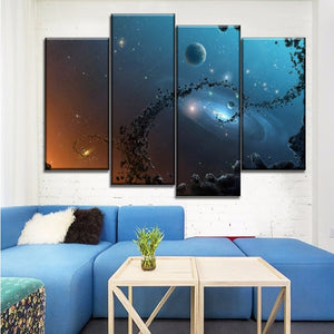 4 Piece Canvas HD Print Abstract Space Milky Way Paintings Modern Home Decorations Wall Poster