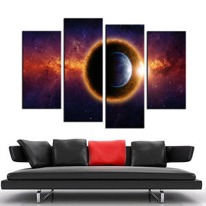 4 Piece Canvas Art Star Space Planet Canvas Print Painting Living Room Wall Art Printing On Canvas