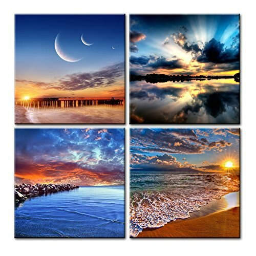 4 Pieces Canvas Prints Painting Wall Art Outer Space Planet Universe Modular Picture Modern