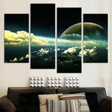 4 Panel Grey Sky Space Universe Landscape Painting On Canvas Modern Earth Wall Art Picture