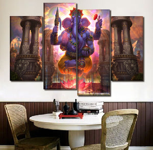 Wall Art Picture Canvas Print 4 Piece/1 Pcs Lord Ganesha Indian God Paintings Home Decor Poster