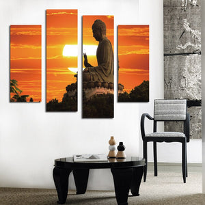 Rushed Modern Sunrise For Buddha Print Picture Living Room Corridor Painting 4 Piece Home Wall Art Decor Canvas