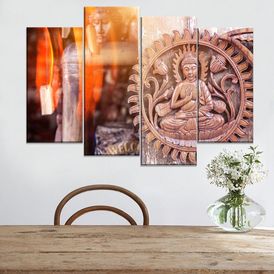 Sunshine Shines On Buddha Painting 4 Piece Modular Style Picture Canvas Print Type Modern Home Decorative