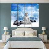 4 Piece Canvas Buddha Statue Painting Posters Prints Picture Wallpaper Posters Picture