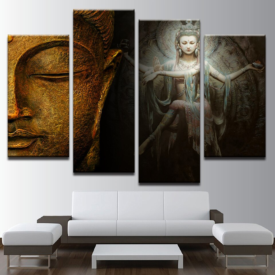 Wall Artwork Home Decoration Canvas 4 Pieces Hd Printed Buddha Painting Modern Modular Pictures Artwork