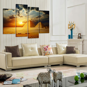 HD Printed 4 Piece Canvas Art Egypt Pyramid Painting Canvas Print Sunset Picture Painting Stretched