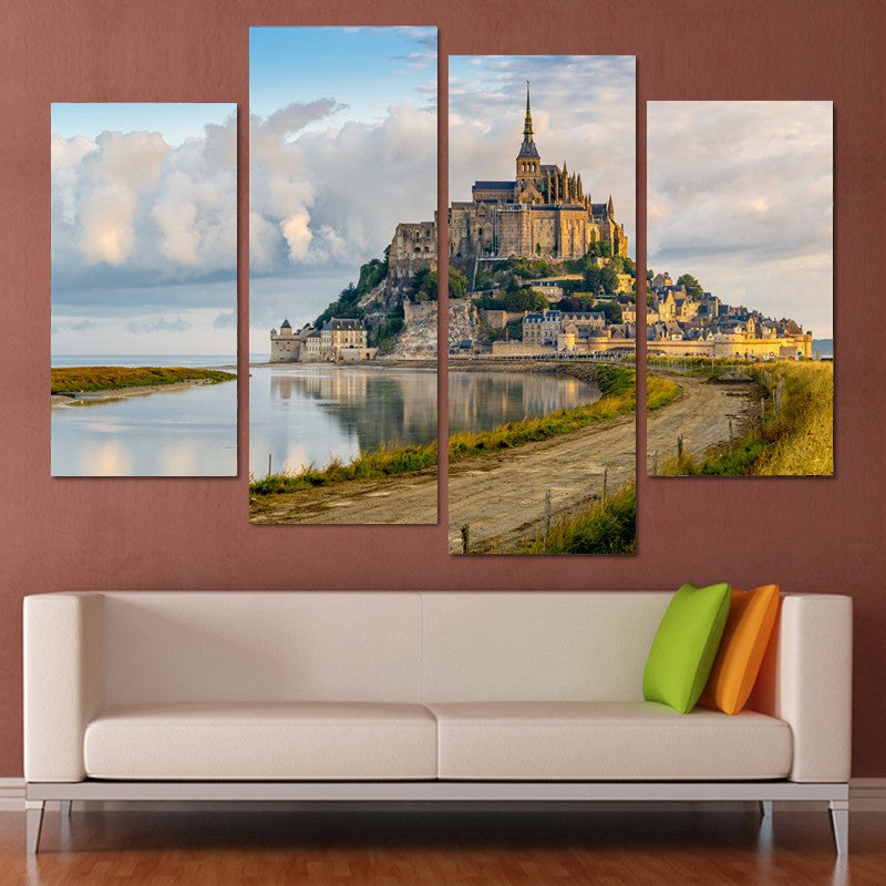 4 Piece Canvas Art Seaside Castle Canvas Print  Painting Decoration for home Wall Art Living Room Modular