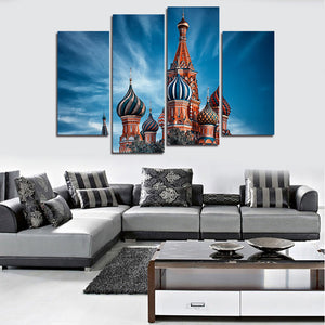 4 Piece Castles In The Sky Wall Art Canvas Print Modern Abstract Painting On Wall Sticker