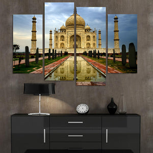 4 Piece Modern Home Decor Canvas Painting Taj Mahal Building Pictures Decorative Paintings Wall Art Printed