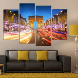4 Piece Canvas Art Night Landscape of The Arc De Triomphe In Paris Wall Art Home Decoration Living Room