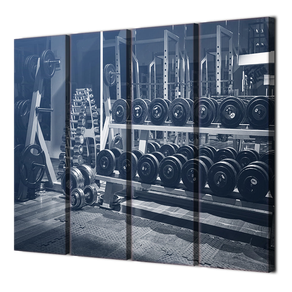 Canvas Paintings Printed 4 Pieces Dumbbells sport gym Wall Art Canvas Pictures  Living Room Home Decor