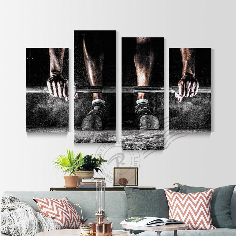 4 Pieces Body Building Sport Boys Weight Lifting Canvas Art Painting Wall Pictrure Living Room Modern Poster Art