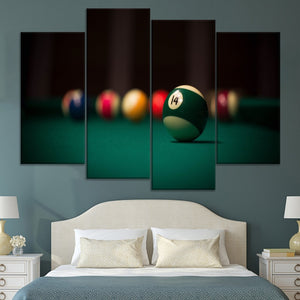 Billiards Sport Abstract Ball Painting 4 Piece Modular Style Picture Canvas Print Type Decor Wall Artwork Poster