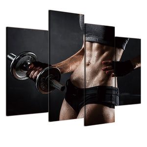 4 Piece Canvas Painting Gym Dumbbells Fitness HD Posters Prints Living Room