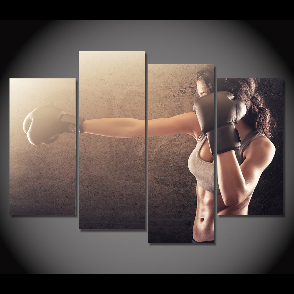 4 Piece Canvas Art Boxing Fitness Sexy HD Muscle Sport Painting Wall Pictures Living Room