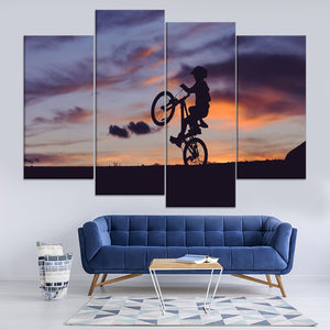 Cyclist Silhouette Sunset Sport Painting 4 Piece Style Picture Canvas Print Type Modern Home Decor Wall Art Poster