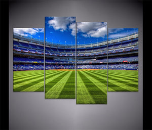 Scenery Football Field Tribunes Painting 4 Piece Style Picture Modern Canvas Print Type Home Decorative Wall