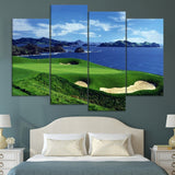 Blue Sky Blue Sea And Golf Lawn Field Painting 4 Piece Style Picture Canvas Print Type Modern Home Decor