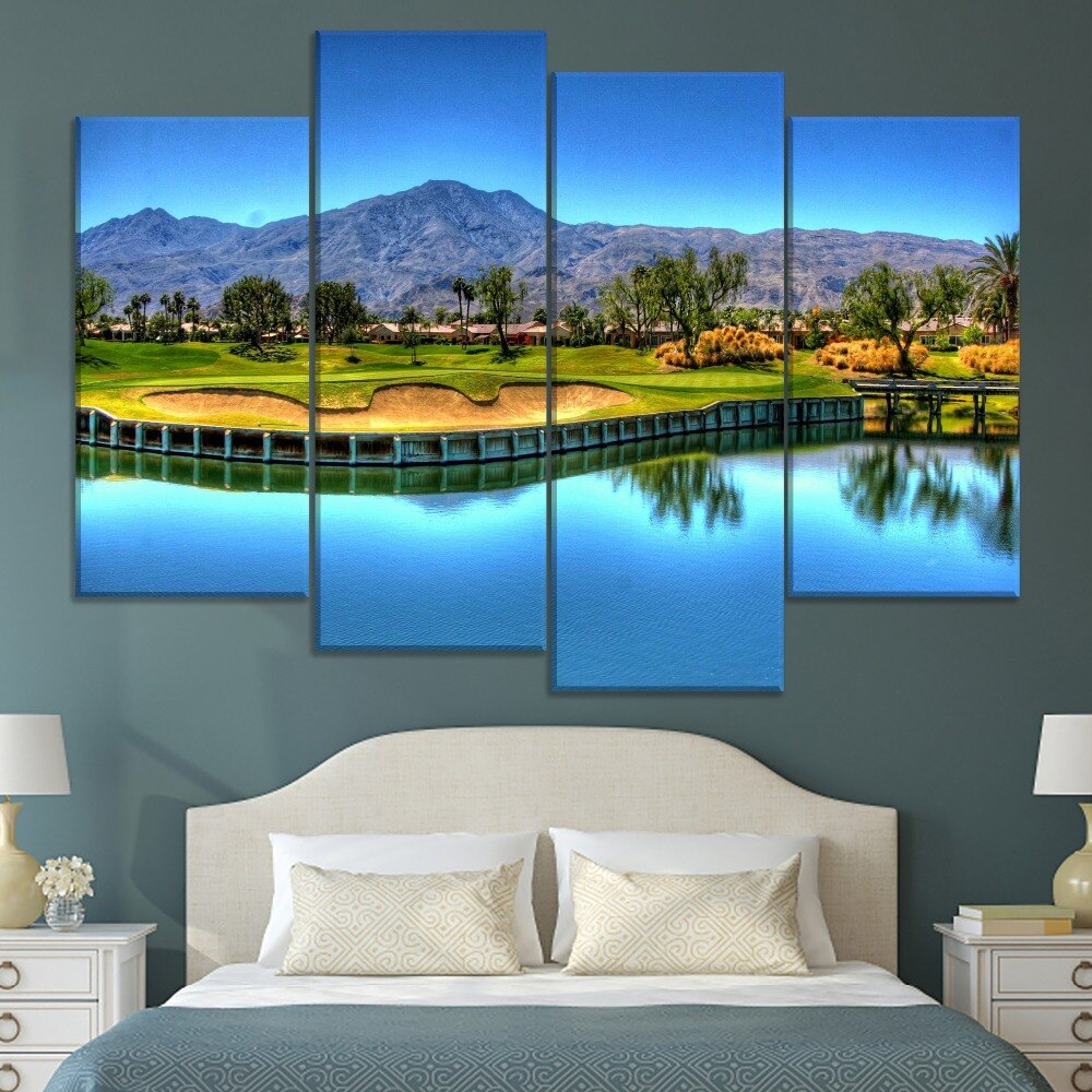 The Green Lawn Golf Field Painting 4 Piece Modular Style Picture Canvas Print Type Modern Wall Artwork Poster