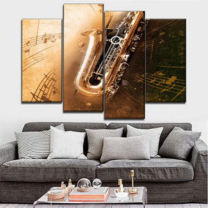 Musical Instruments Painting Canvas Print Modular Art 4 Piece Saxophone Poster Home Wall Decor