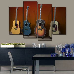 Canvas Pictures Wall Art Modular 4 Piece Music Guitar Painting Print Poster Home Decorative Bedroom