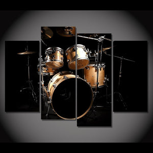 4 Piece Canvas Art Music Drum Painting Vintage Wall Pictures Living Room Home Decor