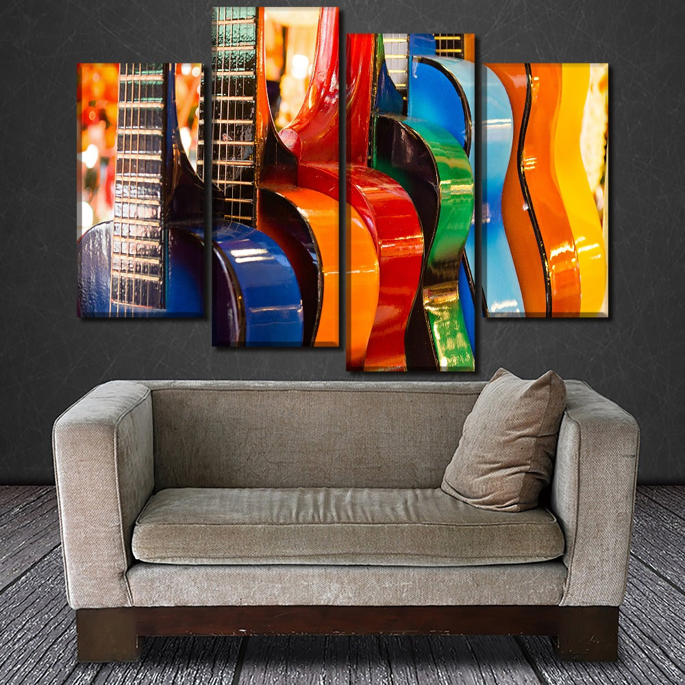 Modern Artwork 4 Piece Wall Art Colorful Guitar Poster Home Decor Framework Modular Picture HD Print