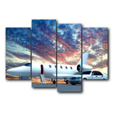 Blue Sky Sunrise Airplane Abstract Decorative Wall Art No Frame Canvas Oil Painting Wedding Decoration