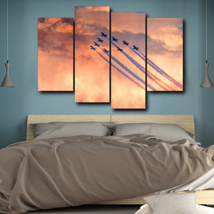 Airplane Sky Red Cloudy Canvas Oil Poster And Prints Living Room House Wall Decor Art Painting Picture
